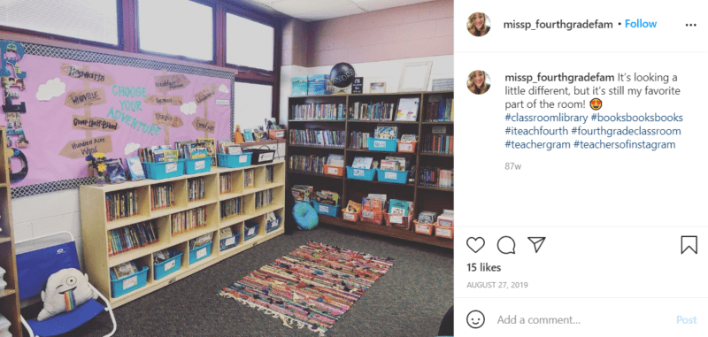 Still of fresh and fun fourth grade classroom ideas book nook from Instagram