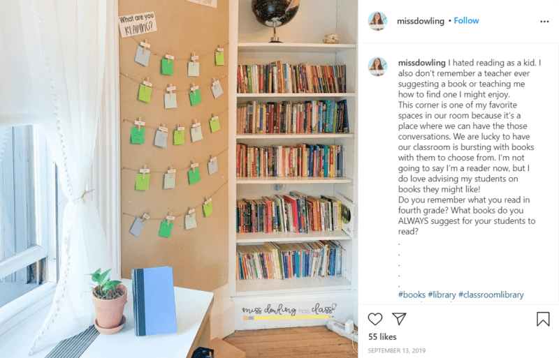 Still of fresh and fun fourth grade classroom ideas for sharing books from Instagram