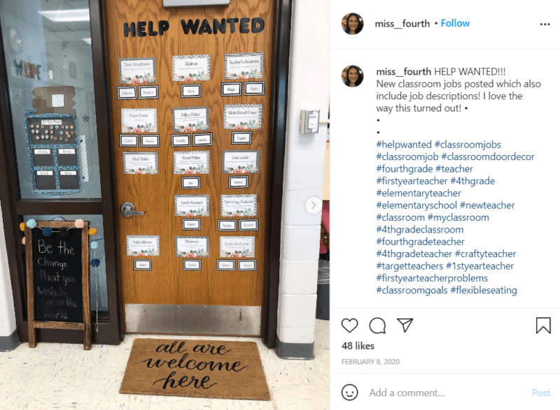 Still of fresh and fun fourth grade classroom ideas for your door from Instagram