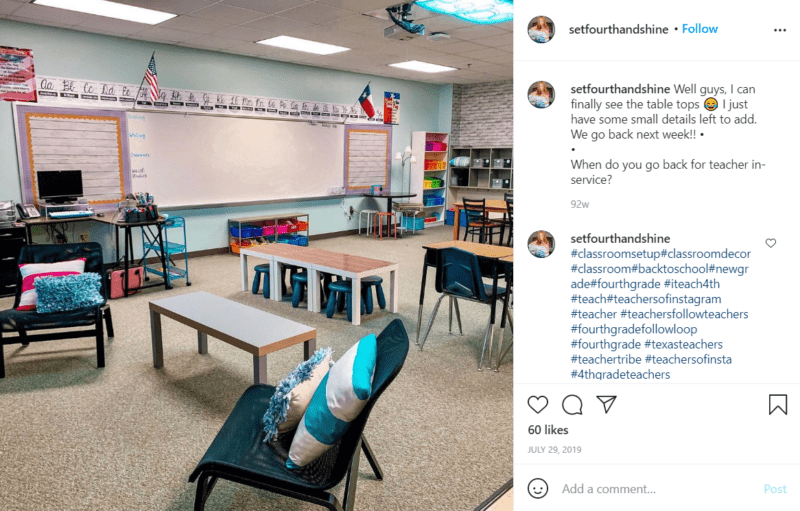 Still of fresh and fun fourth grade classroom ideas using different types of chairs from Instagram