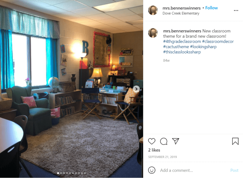 Still of fresh and fun fourth grade classroom ideas with furniture from Instagram