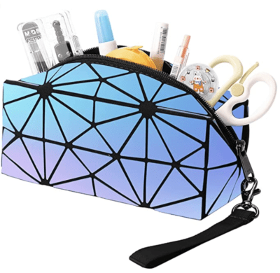 cute pencil pouch with geometric design and holographic colors