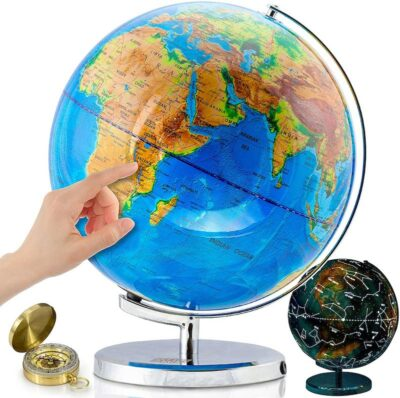 Get Life Basics World Globe with a hand pointing to continent of Africa