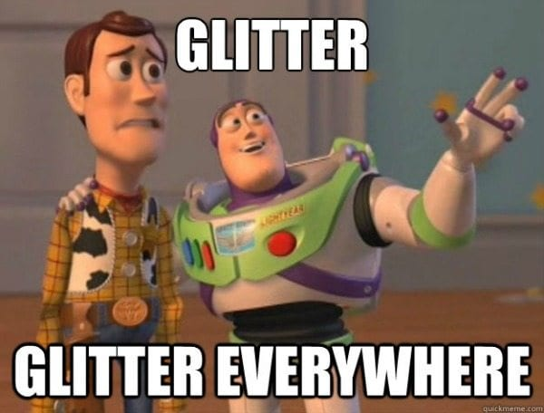 Messy glitter in the classroom