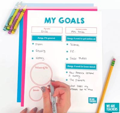 My goals worksheet free flatlay full