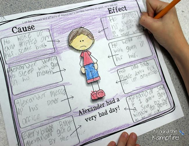 Cause and Effect graphic organizer for Alexander's Very Bad Day