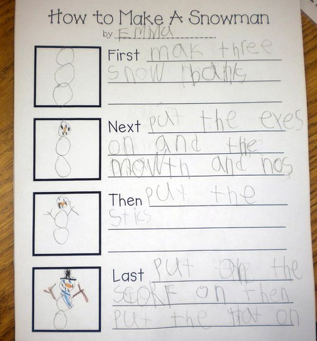Sequencing organizer laying out the steps to build a snowman