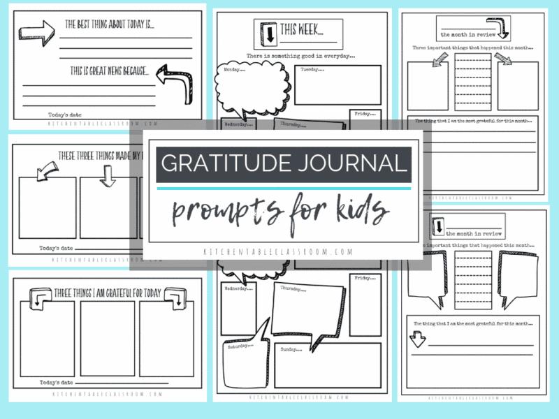 Gratitude journal prompts for kids.