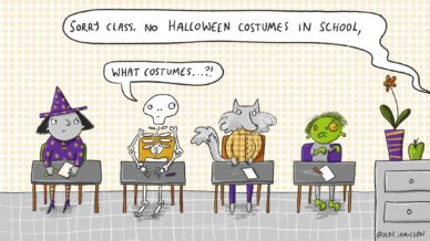 """Illustration of witch, skeleton, werewolf, and zombie students saying """"What costumes...?!"""""""