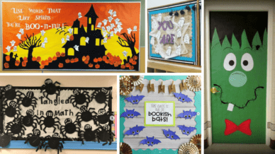 Collage of Halloween bulletin boards