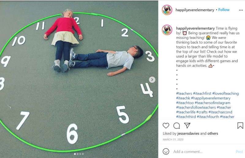Still of children lying on the ground in a clock formation first grade assessment idea