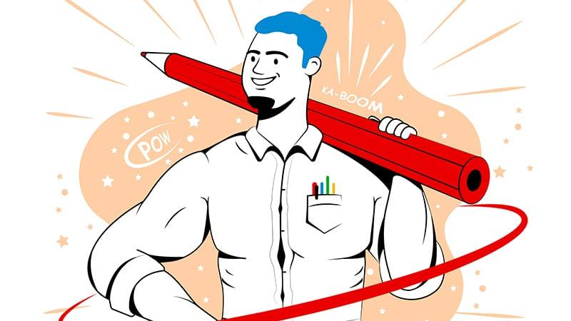 Illustration of teacher as a comic book superhero