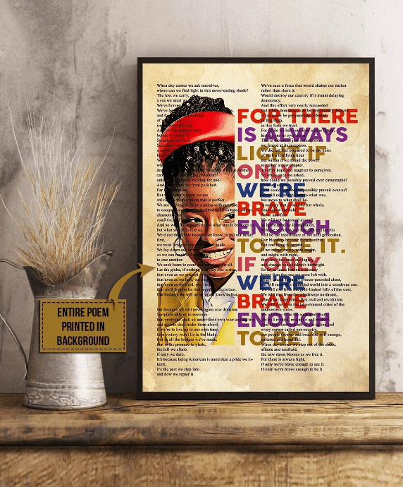 """A framed poster sits on a desk with an image of Amanda Gorman in her Inauguration Day outfit and the words of her poem """"The Hill We Climb,"""" , as an example of high school classroom decorations"""