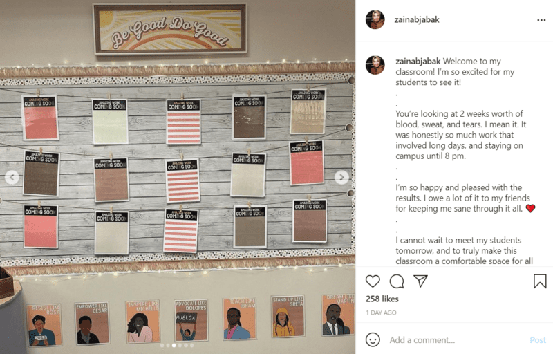 """A bulletin board in a classroom is decorated in light pastel and natural tones. There are places for student pictures to be affixed with each spot labelled """"Amazing Work."""" Above the bulletin board is the phrase """"Be Good Do Good"""" while drawn images of heroic social justice figures are posted below the board."""