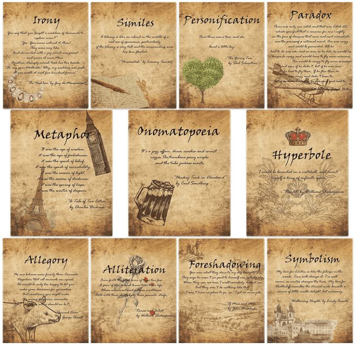 Eleven posters on brown parchment-styled paper that explain aspects of literature (irony, personification, similes, etc.) designed to look like they are from the Renaissance, , as an example of high school classroom decorations