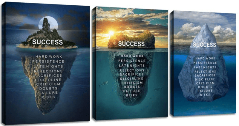 """Three variations of a motivational poster that say """"SUCCESS"""" above water while naming several of the steps to success above the water."""