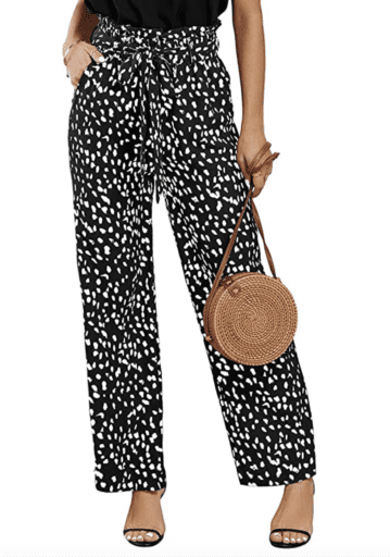 High waist black and white print pants with tie and paper bag waist