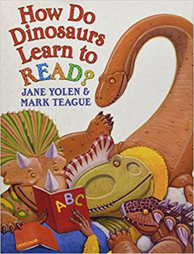 Book cover for How to Dinosaurs Learn to Read as an example of dinosaur books for kids