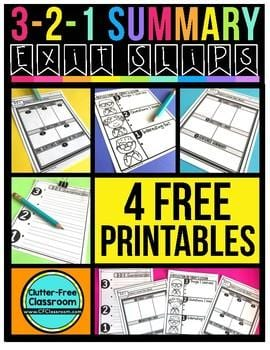 Clutter-Free Classroom printables for exit slips.