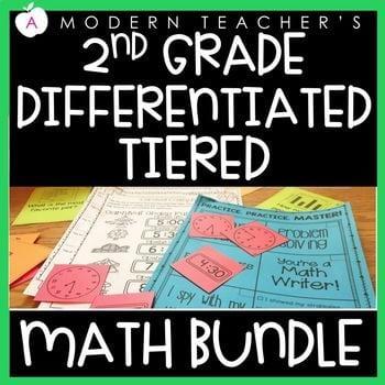 """2nd grade differentiated tiered math bundle"" by A Modern Teacher"