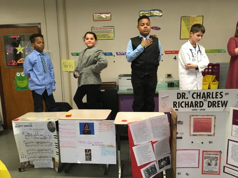 Living museum group of students
