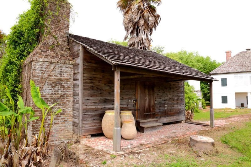 Photo of a slave home on the Whitney Plantation