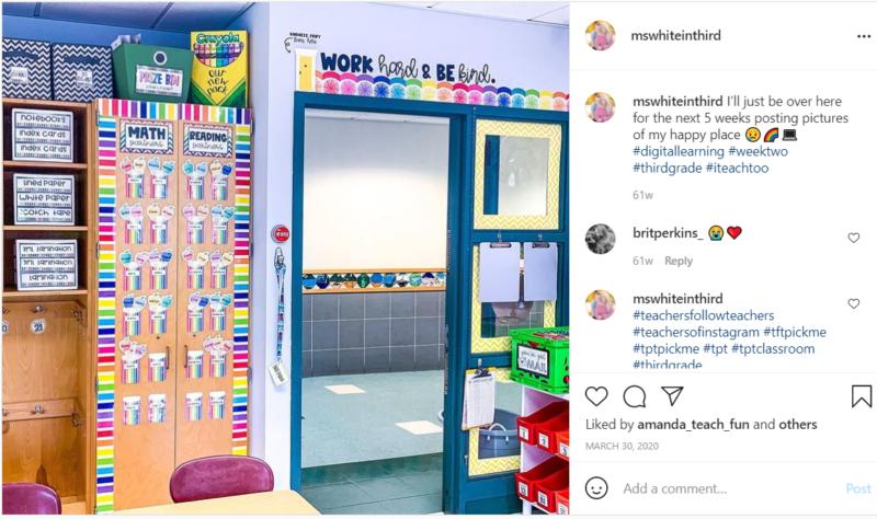 Door in third grade classroom with colorful Crayon decorations