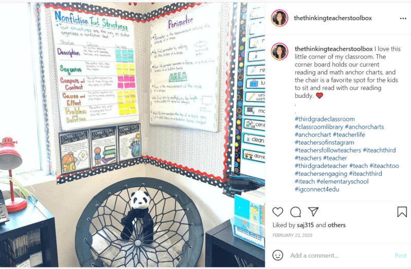 Classroom corner with bulletin boards for English and math with chair and panda bear
