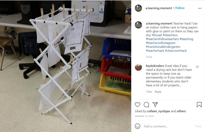 Still of classroom drying rack for student art