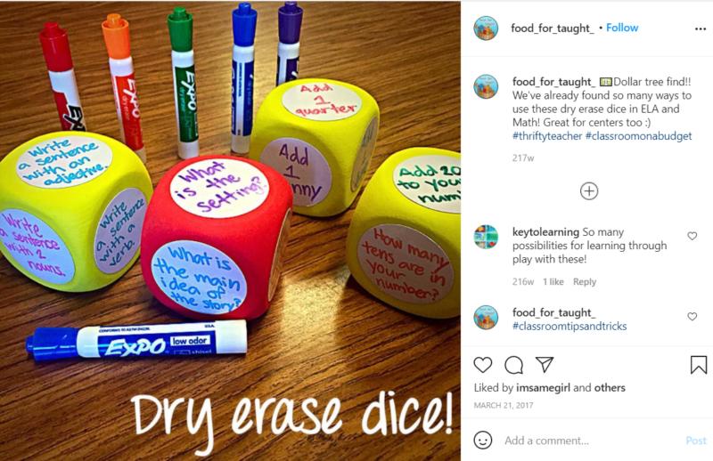 Still of dry erase dice