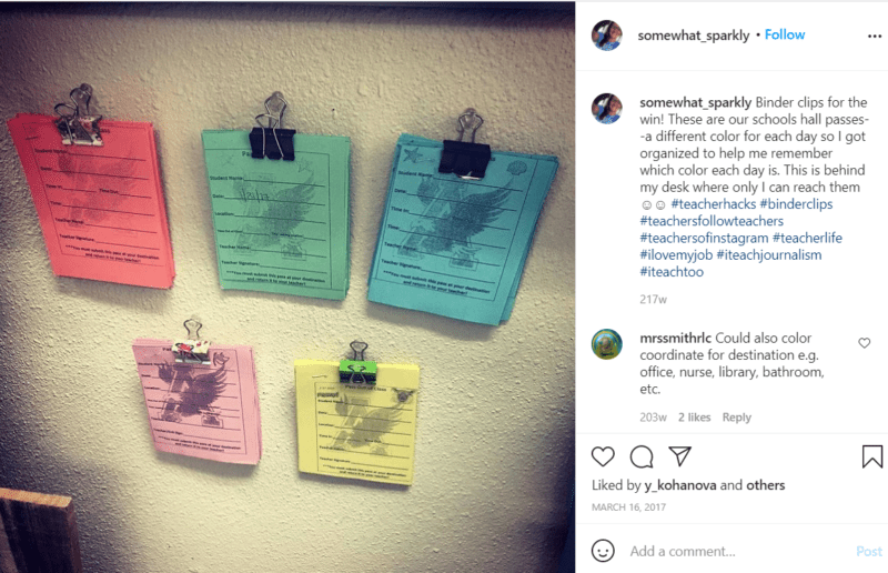 Still of color-coded hall passes for students