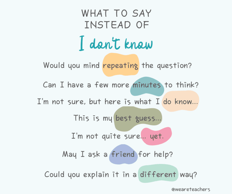 Phrases to use instead of I don't know