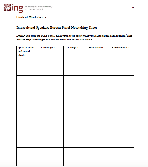 Screenshot of Intercultural Speakers Bureau notetaking sheet