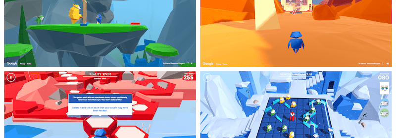 Collage of four scenes from Google's internet safety game Interland