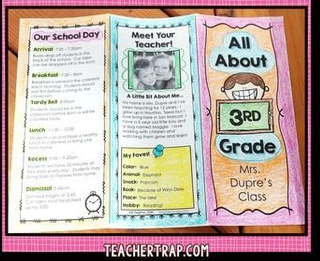 """Brochure entitled """"all about 3rd grade"""" (Introduce Yourself to Students)"""