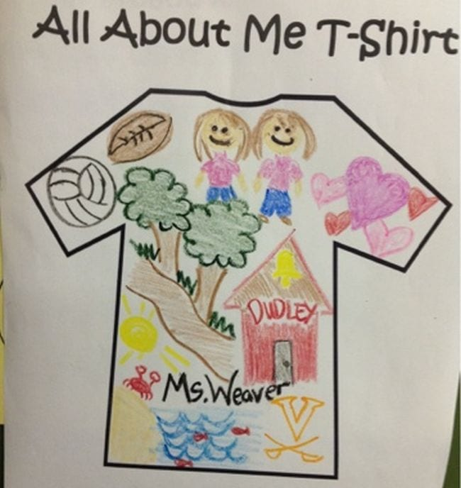 Drawing of a t-shirt decorated with pictures of a volleyball, football, house, and more