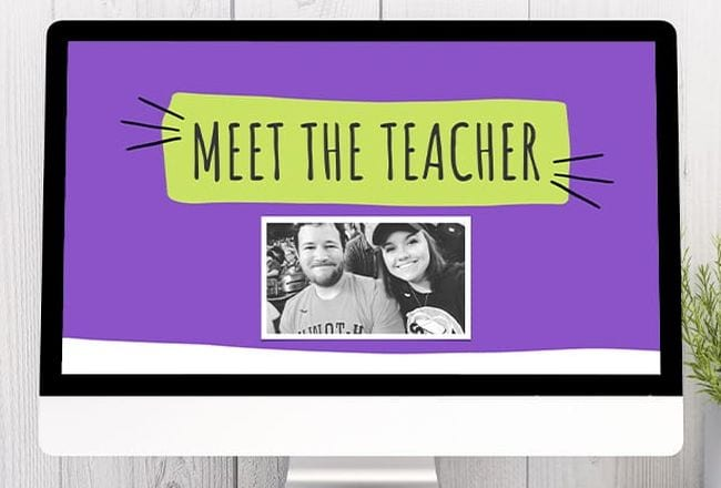 Computer monitor showing a Meet the Teacher slideshow (Introduce Yourself to Students)
