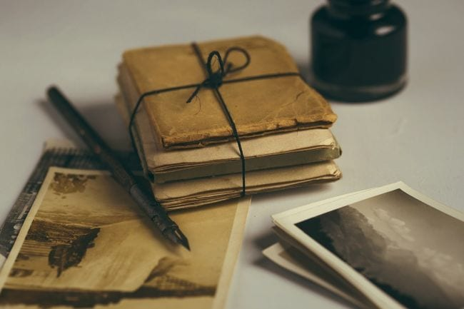 Stack of old letters and photographs
