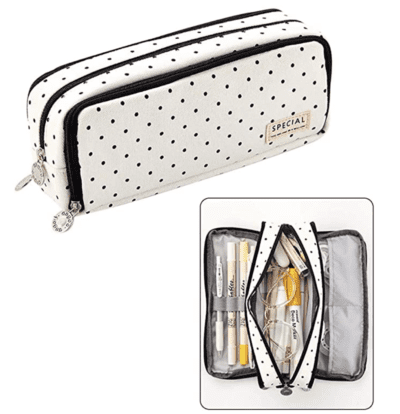 cute polkadot pencil pouch with zipper compartments