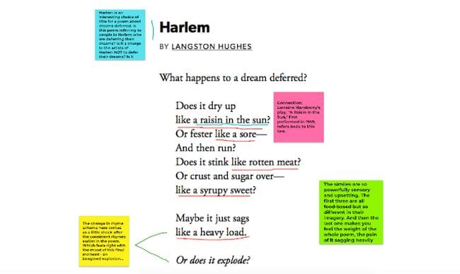 Langston's Hughes' poem Harlem annotated with underlining and sticky notes