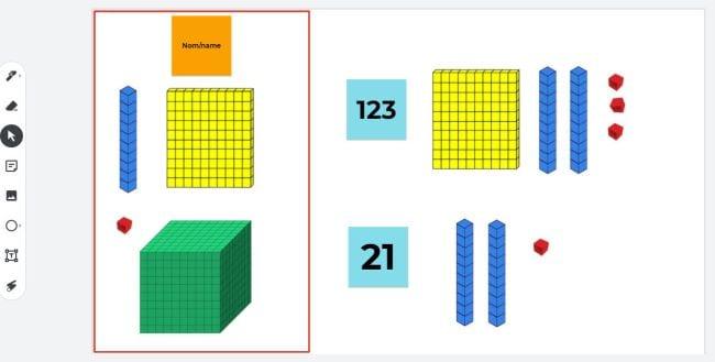 Digital base ten blocks for ones, tens, hundreds, and thousands (Jamboard)