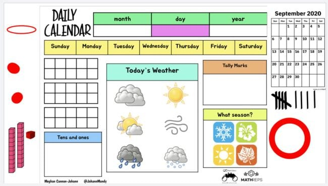 Morning meeting template with calendar, weather icons, base 10 blocks, seasons, tally marks, and mroe