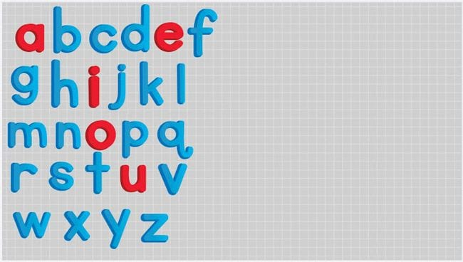 Gray screen with moveable icons of blue lower case alphabet letters, with vowels in red