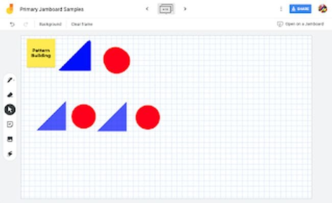 Graph paper with blue triangles and red circles in a pattern (Jamboard)