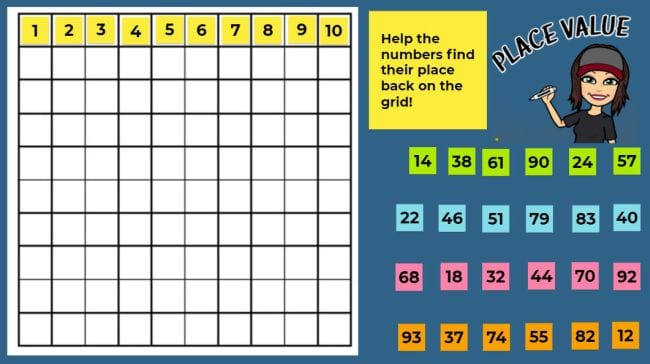 10 x 10 grid with movable digital number sticky notes (Jamboard)