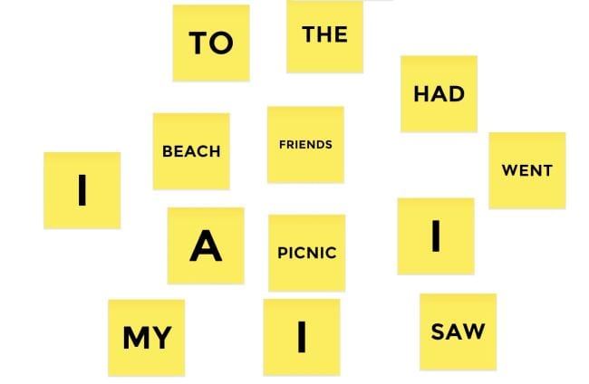 Digital yellow sticky notes with various words like I, To, Beach, etc.
