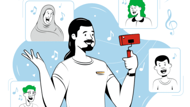 Illustration of teacher creating music videos with students virtually using cell phone