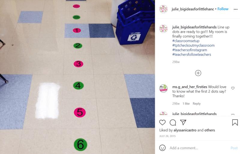 Still of dots on the floor lining up strategies julie_bigideasforlittlehands Instagram