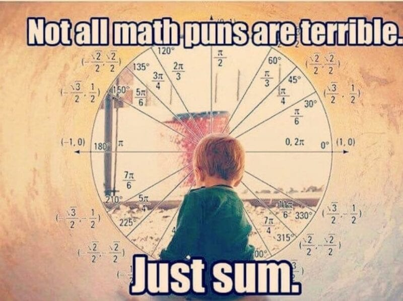 """""""Not all math puns are terrible, just sum"""""""