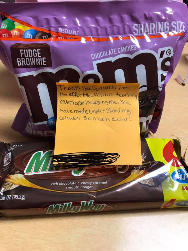 M&Ms and a sticky note for a teacher thank you